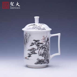 The big bucket hand-painted ceramic slag fangming jingdezhen blue and white tie up branch lotus - water bearing all hand kung fu tea accessories