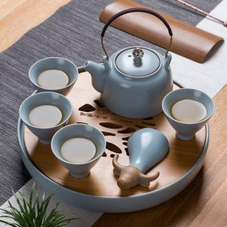 Jingdezhen kung fu tea set suit household white jade porcelain contracted tea teapot teacup of a complete set of gift box office