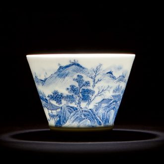 Holy big ceramic kung fu tea tea masters cup manual ji blue glaze colour, single cup jingdezhen tea sample tea cup