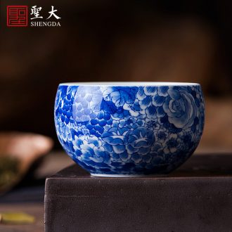 Only three tureen ceramic cups hand-sketching jingdezhen blue and white All flowers in delight all hand kung fu tea tea bowl