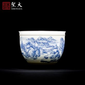Holy big blue and white landscape teacups hand-painted ceramic kung fu yu Yin master cup sample tea cup all hand of jingdezhen tea service