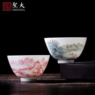 Holy big teapot hand-painted ceramic kung fu new color landscape stone gourd ladle pot all hand jingdezhen tea teapot single pot