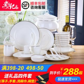 Bone China tableware Jingdezhen ceramic European top-grade gift dishes suit household gifts bone bowls plates