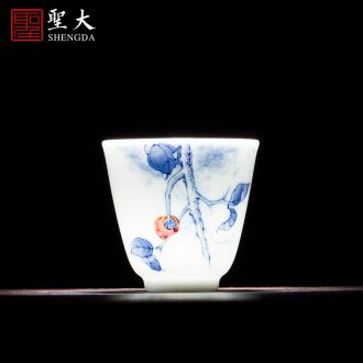 The big blue and white do peach density mesh filter jingdezhen ceramic) hand-painted kung fu tea accessories