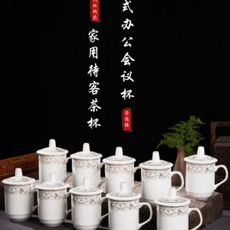 Jingdezhen ceramic cup with cover bone China large ceramic cups water glass cup gift cup custom office meeting