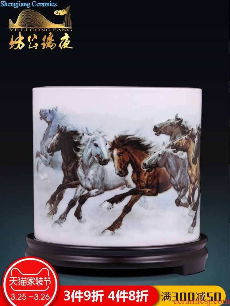 Jingdezhen ceramics furnishing articles singing in huangshan decorative hanging dish by dish plate household handicraft decoration in the living room