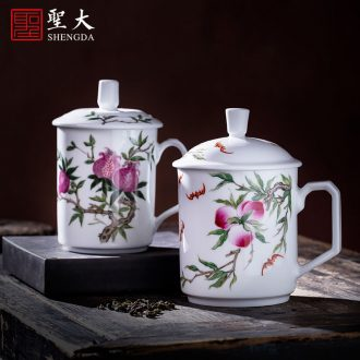 Holy big blue and white ice teacups hand-painted ceramic kung fu mei to medallion antique grain master cup of jingdezhen tea service single cup