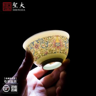Holy big cup sample tea cup hand-painted ceramic kungfu archaize jingdezhen blue and white plum blossom tattoo master cup tea cup