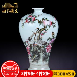 Jingdezhen ceramics furnishing articles hand-painted CV 18 red vase in the sitting room of Chinese style household dry flower adornment furnishing articles