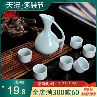 Seal it 5 jins of ceramic bottle wine storage household small wine jar ten catties hip flask bottles of blue and white porcelain