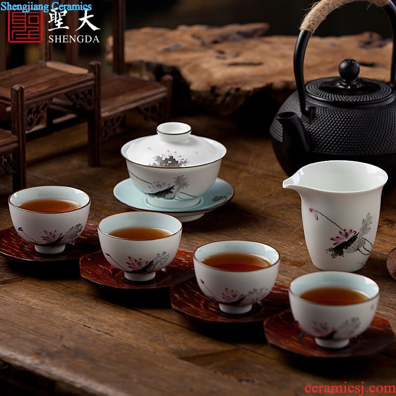 Sample tea cup individual cup of jingdezhen ceramic hand-painted the four beautiful living master cup all hand kung fu tea cups