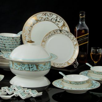 Jingdezhen high-grade bone China tableware suit 60 head of pottery and porcelain bowl dish dish sets Marry a housewarming luxury gifts