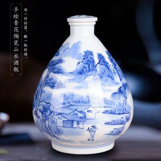 Jingdezhen ceramic jars it general wine pot bubble wine bottle with leading 10 jins 20 jins home bubble wine jars