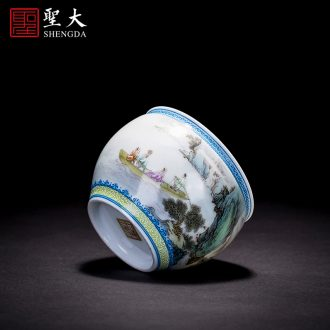 Holy big kung fu tea masters cup hand-painted zijin glaze jingdezhen blue and white lotus sample tea cup tea cup