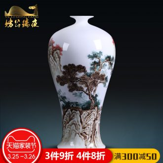 Jingdezhen blue and white porcelain vases, pottery and porcelain large hand-painted songshan friends sitting room place of new Chinese style household act the role ofing is tasted