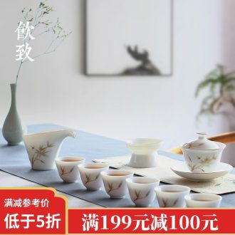 Drink to the colour of a complete set of dehua white porcelain tea set set of household kung fu tea tureen of pottery and porcelain teacup gift set