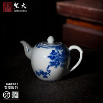Holy big teapot hand-painted ceramic curios kung fu heavy new colors in the snow solitary males teapot single pot of jingdezhen tea service