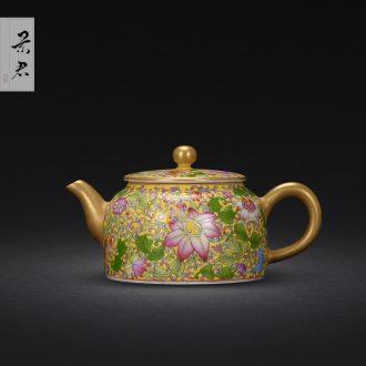 Jingdezhen manual colored enamel teapot small household kung fu tea kettle JingJun ceramic teapot