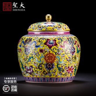 Ceramic tea pot hand-painted alum st red paint powder enamel tank receives the manual of jingdezhen tea service