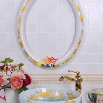 JingYuXuan Purple peony basin with oval frame art basin ceramic face basin sinks