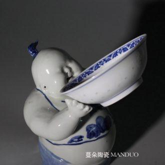 Jingdezhen double lion imitation word antique vase of dowry hand-painted ceramic vase 60 Gao Qinghua ground vase