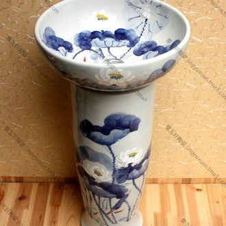 Jingdezhen JingYuXuan hand-painted ceramic product freehand brushwork in traditional Chinese peony pillar three-piece art stage basin basin