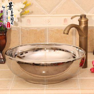 JingYuXuan jingdezhen ceramic lavatory basin sink basin art basin waist drum yellow flower on stage