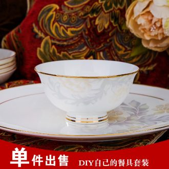 Jingdezhen high-grade bone China tableware suit household combination dishes chopsticks suit Chinese bowl porcelain gifts