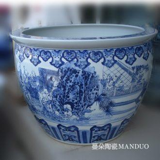 Jingdezhen set is square and generous culture writing brush washer to send led boss luxurious porcelain porcelain brush pot