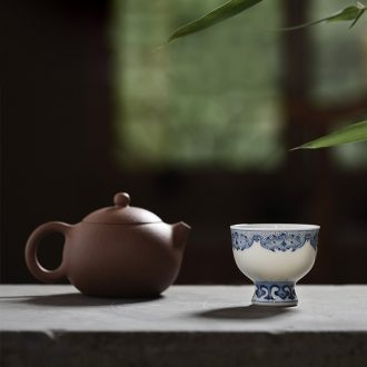 JingJun jingdezhen ceramic cups kung fu masters cup blue and white flowers and birds hand-painted porcelain sample tea cup small hand tea set