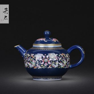 Jingdezhen hand-painted bound branch azure glaze sample tea cup small master cup single cup tea cup kung fu tea set