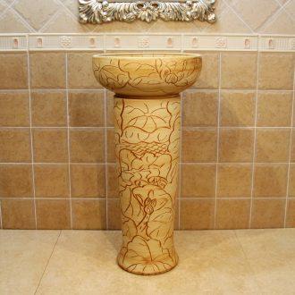 Jingdezhen ceramic lavatory basin basin art on the sink basin basin kiln waist drum wisteria