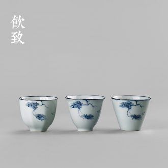 Drink to shadow celadon tureen large tea cups ceramic three of the bowl bowl set manually kung fu tea cup