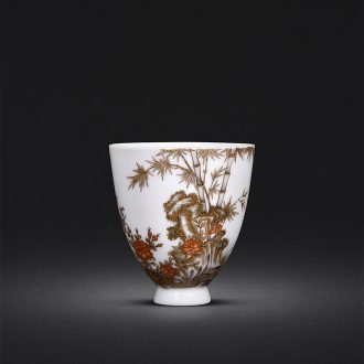 Hand-painted JingJun jingdezhen ceramics powder enamel pattern dragon all hand sample tea cup blue 1 single cup host