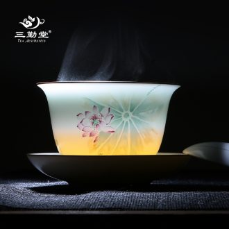 Three frequently hall jingdezhen ceramic fair mug kung fu tea ware BeiYing sapphire porcelain and glass tea set points S31003