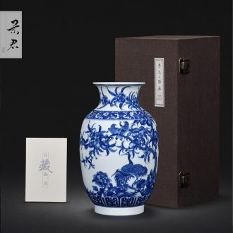 Hand-painted JingJun jingdezhen ceramics crafts are blue and white porcelain vases, flower arrangement sitting room of Chinese style household decorations