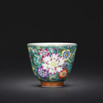 Jingdezhen hand-painted the blue paint wrap branch lotus masters cup JingJun kung fu tea cup sample tea cup small cups