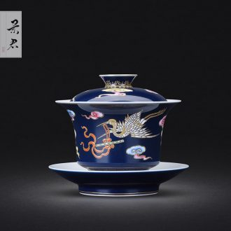 Jingdezhen ceramic kung fu tea set teacups hand-painted colored enamel flower master cup single cup sample tea cup