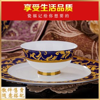 Jingdezhen dishes tableware ceramic bowl dish dish small spoon chopsticks free combination european-style hotel hotel tableware
