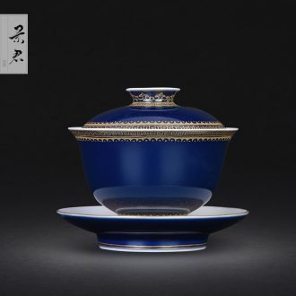 Jingdezhen hand-painted kung fu tea sample tea cup roars mountains famille rose tea set large master cup single cup