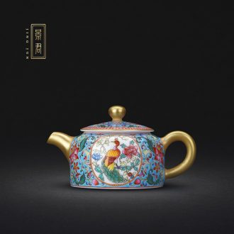 JingJun jingdezhen hand-painted colored enamel porcelain teapot kung fu tea set single pot of tea tea