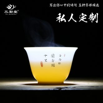 Three frequently masters cup kung fu tea cups ceramic sample tea cup Jingdezhen hand-painted white porcelain S42056 celadon tea sets