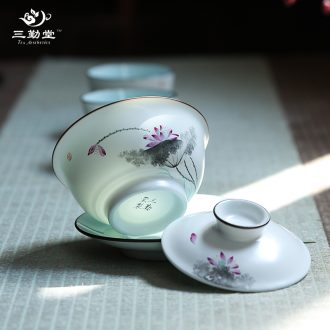 Three frequently hall tureen jingdezhen kung fu tea tea cups hand-painted pastel three cup large bowl suit