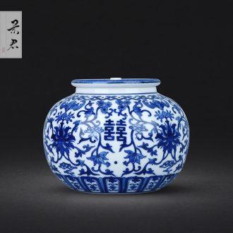 JingJun ceramics kung fu tea sample tea cup hand-painted the colour blue and white landscape pu-erh tea master of jingdezhen tea service