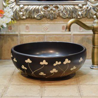 Jingdezhen JingYuXuan ceramic wash basin stage basin sink art basin basin matte black and white circle