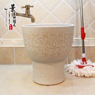 Jingdezhen JingYuXuan large-sized hand-painted shrimp on Ceramic art mop basin mop mop pool pool under the sink