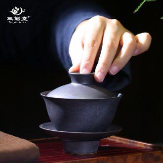 The three regular crack cup a pot of two cups Jingdezhen ceramic portable travel TZS248 kung fu tea set hand grasp pot
