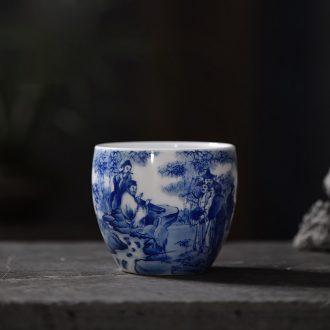 Kung fu tea colored enamel JingJun jingdezhen ceramics three bowl of hand-painted tureen manually make tea bowl cups