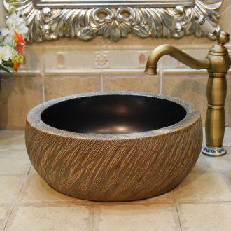 Jingdezhen JingYuXuan ceramic art basin of black and white one column coil on the stage basin basin sink basin