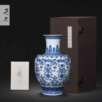 JingJun jingdezhen ceramics hand-painted blue and white porcelain vases, flower arrangement sitting room of Chinese style household decoration crafts are 1